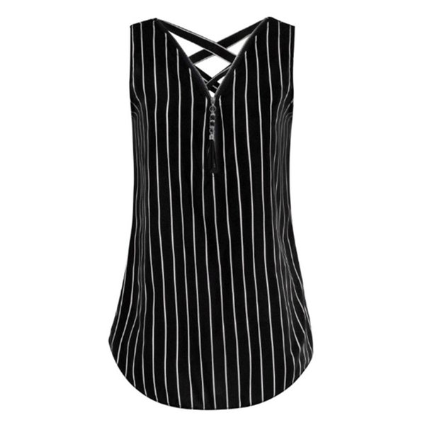 New Womens Sleeveless V Neck Tank Top Zipper Front Criss Cross Stripe Vest Shirt