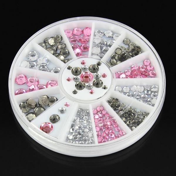 Mélanger Taille Blanc Rose Gris Nail Art Décoration 3D Conseils Glitter Strass Cristal Gems Acrylique Dos Plat Roue Outils DIY Manucure