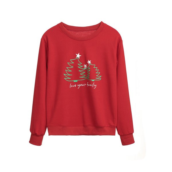 2019 New Hot Family wear Christmas Red Christmas tree print Hoodies Costumes Long Sleeve Pullovers Sweatshirts Hot Sale