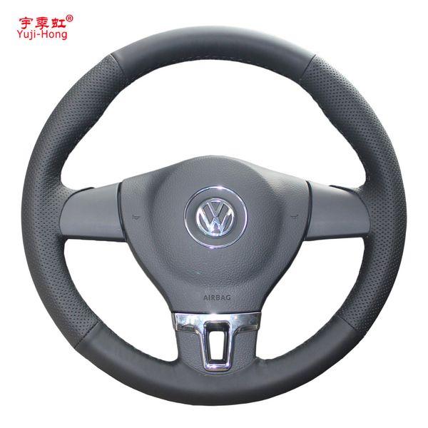 Custodia per volante Yuji-Hong per Volkswagen VW Tiguan Lavida Passat B7 Jetta Mk6 Pelle artificiale cucita a mano