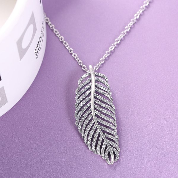 925 Sterling Silver Clignotante Plume Cristal Pendentif Chaîne Collier De Mode Femmes Cadeau Bijoux pour Pandora Collier avec Boîte d'origine