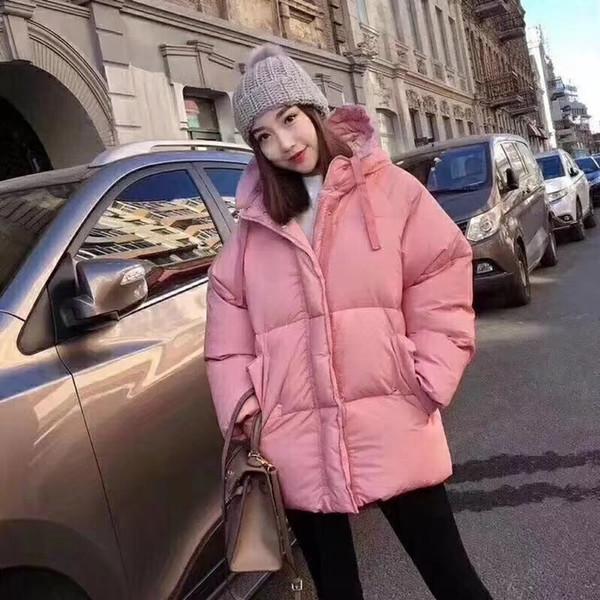 2019 moda inverno mulheres jaqueta com capuz rosa jaqueta com capuz casaco solto outerwear o jovem coração menina jaqueta grossa