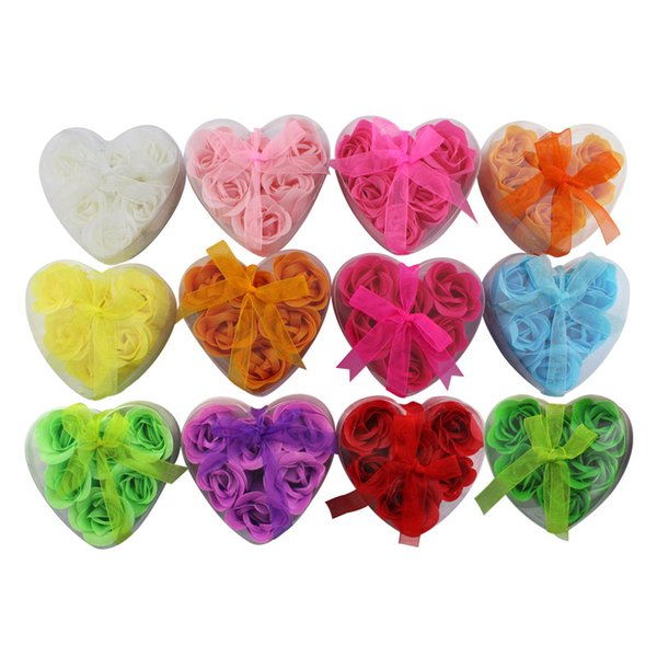 Heart-shaped Rose Soap Flower (6pcs/box 10boxes / lot ) For Romantic Bath And Gift New Hot Party Decorative Flowers