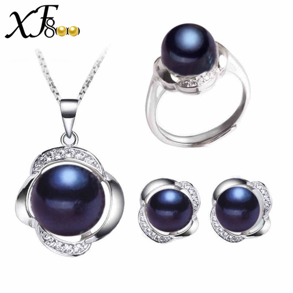 [XF800] Black Pearl Schmuck Sets 925 Sterling Silber Echte Süßwasser-perlenkette Anhänger Ohrringe Ringe Für Frauen [st20]