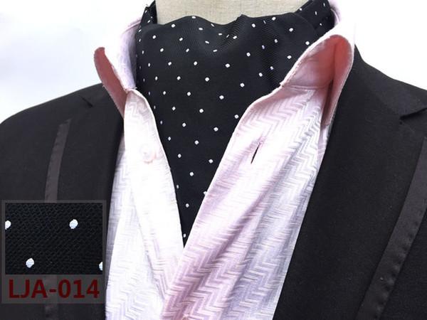 Écharpe formelle Gentlemen de style britannique, noir avec grilles à pois blancs