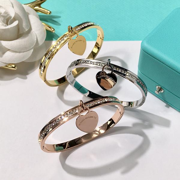 316l tainle teel ilver bracelet bangle gold plated heart pendant bracelet for women brand de ign