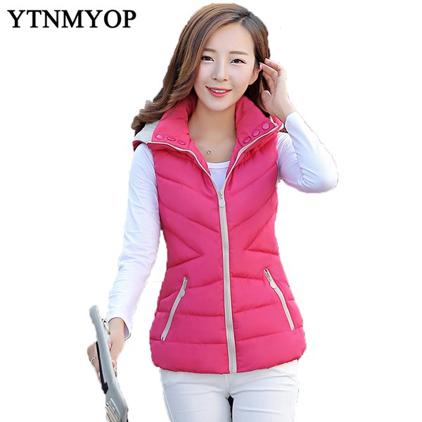 New Slim Fashion Autumn And Winter Vest With Hooded Women's Short Vest Jacket Sleeveless Down Cotton Slim Waistcoat Plus Size