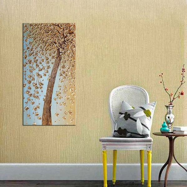 Handmade Canvas Oil Painting for Home Decoration Wall Golden Cherry Blossom Tree Modern Flower Unframed Art Picture