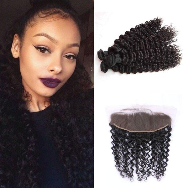 Пучки человеческих волос глубокой волны с малайзийской вьющиеся волосы кружева фронтальной закрытия 13 * 4 дюйма свободного среднего три части LaurieJ волос