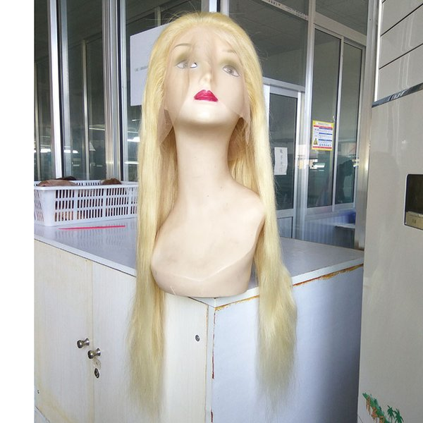 Hot Sale Blonde Color 100% Brazilian Virgin Human Hair Straight Full Lace Wig Middle Part Full Face Wigs With Bangs Tangle Free