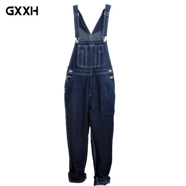 GXXH Hot 2018 Men's Plus Size Overalls Large Size Huge Denim Bib Pants Fashion Pocket Jumpsuits Male Free Shipping Brand 44 46