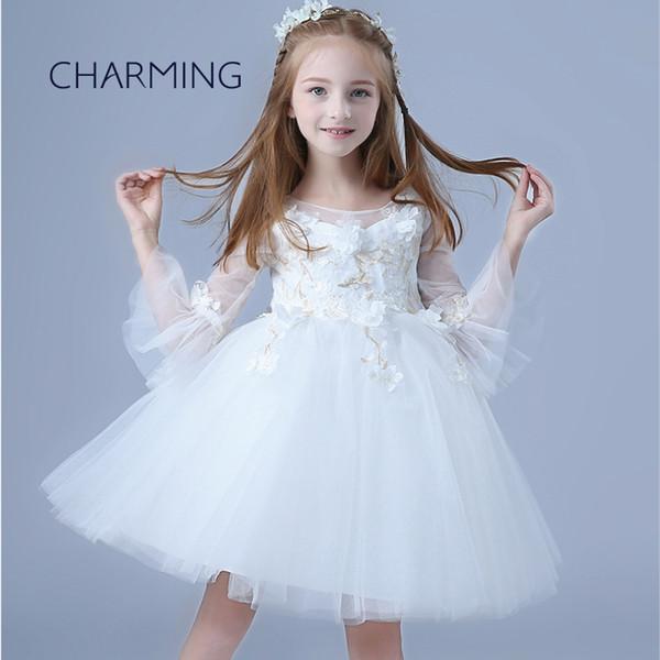 Unique flower girl dresses White dresses for girls round neck style Long sleeve childrens dresses Child dress