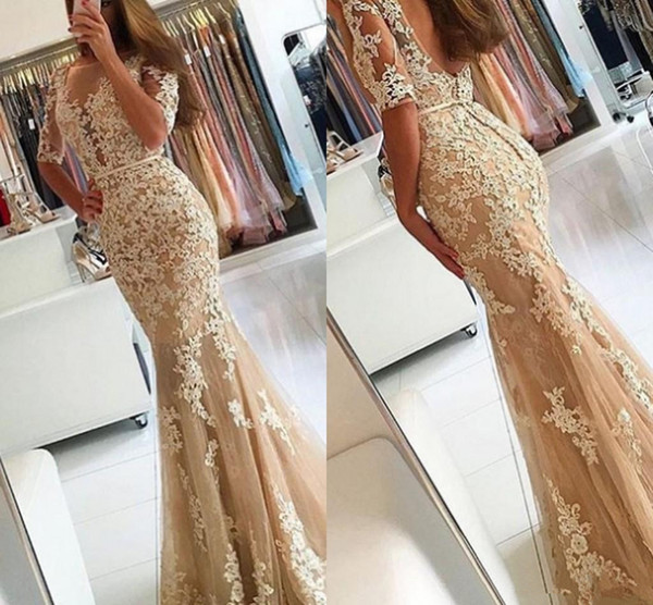 New Mermaid Champagne Dresses Evening Wear 2018 Half Sleeve Sheer Neck Appliques Beads Backless Modest Prom Party Gowns Cheap Custom