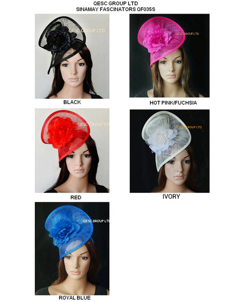 best selling HOT sinamay fascinator dress wedding sinamay hat in SPECIAL shape with silk flower,white black,ivory,pink,black red,grey