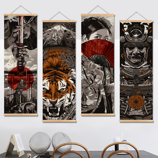 Japan Samurai Vintage Poster and Prints Scroll Painting Canvas Wall Art Pictures Living Room Bedroom Farmhouse Decoration