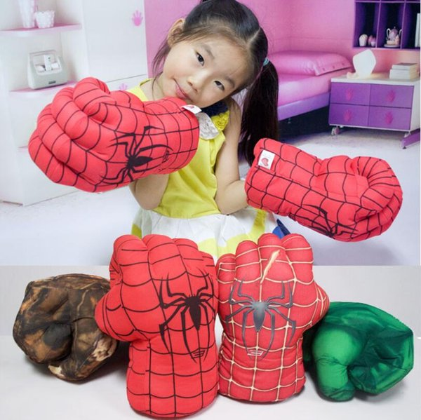 top popular 2pcs=1pair 28cm Height Hulk Spiderman Boxing Glove Plush Stuffed Punching Fist Gloves Four Choice Left Right Hand YH1517 2020