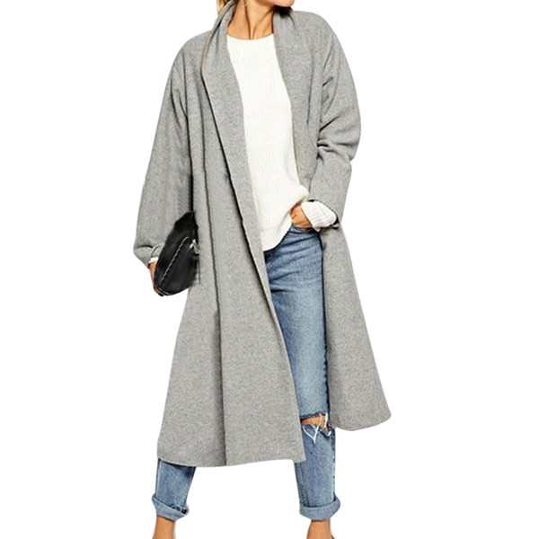 Wholesale- 2017 New Autumn Winter Women Trench Open Front Trench Coat Long Cloak Overcoat Waterfall Cardigan Coats Female Outerwear