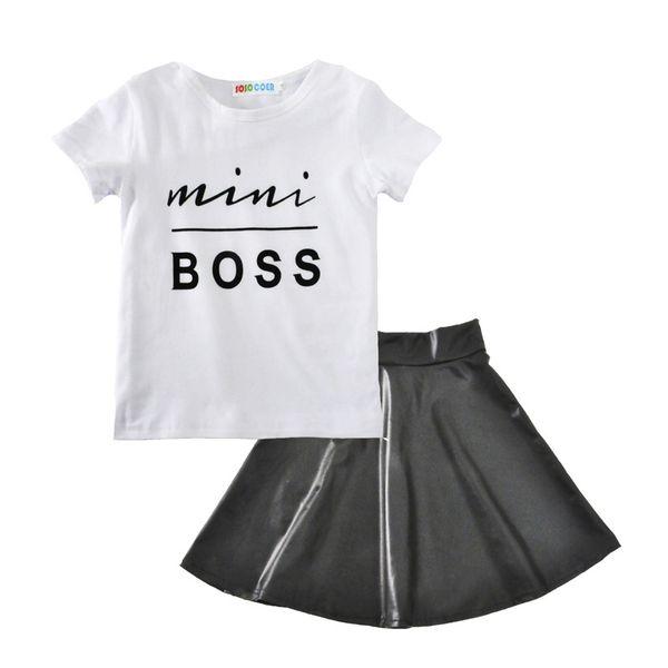 Bebek kız kıyafetleri 2018 yaz çocuklar Boss mektup T-shirt + PU etek 2 adet / takım pamuk Butik çocuk Giyim Setleri H001