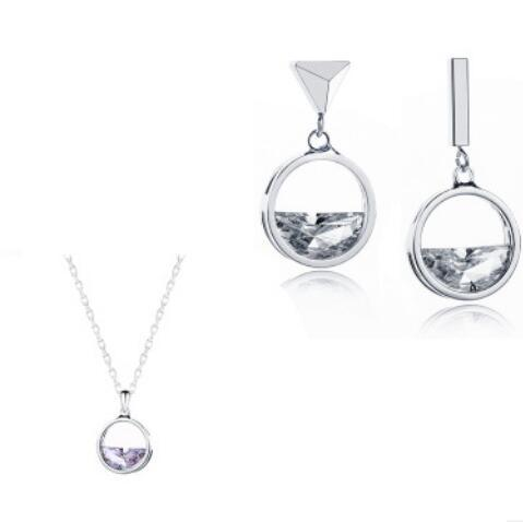 925 sterling silver jewelry sets Pendant Necklace Hoop Earring Set Silver Jewelry Set Free Shipping Gift