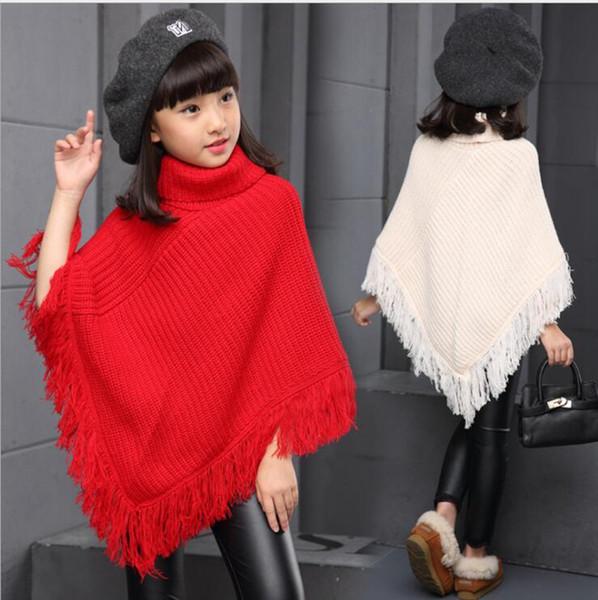 Girls Scarf Poncho Fashion Neckerchief Tassel Shawl Winter Warm Sweater Cape Big Kids Outwear Cloak Casual Coat Designer clothes YL707