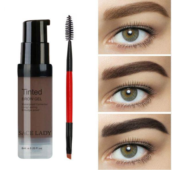 Color Salon Sopracciglio Pomata 6ml Makeup Tint Brush Kit Marrone Hennè Eye Brow Gel Cream Make Up Paint Pen Set Enhancer Wax Cosmetic