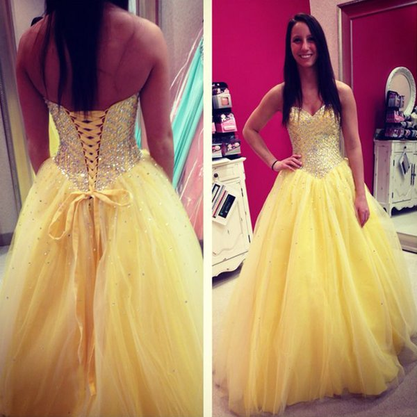 Sparkly Crystals Corset Back Quinceanera Dresses Yellow Tulle Sequins Lace-up Sweetheart Floor Length Prom Party Gowns Custom Made 2019