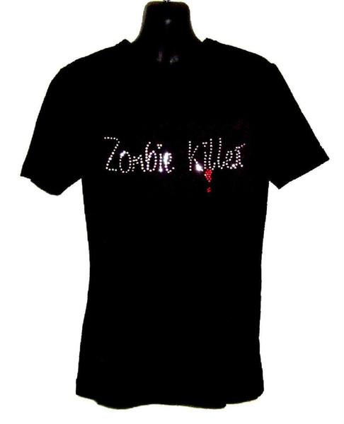 Zumbi tueur design strass enfants camiseta (toutes les tailles) gothique horreur