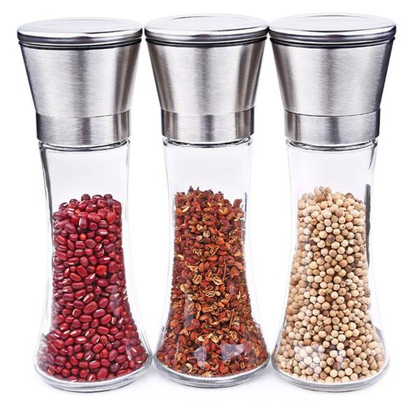 3/2/1 Pcs Salt And Pepper Grinder Set Salt Mill Pepper Mill Spice Stainless Steel Lid Slim Glass Bottle Adjustable Ceramic Rotor Y18110204