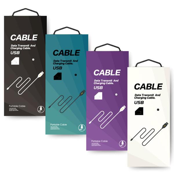 200 unids / lote caja de empaquetado colorida al por mayor para 1-2 metros de línea de datos de teléfonos móviles con caja de papel de boutique con agujero de colgar