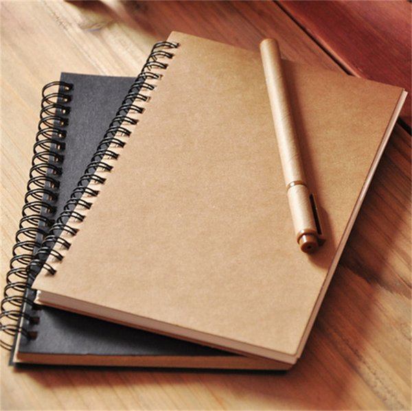 Vintage Notebooks Kraft Paper Sketchbook Notepad For Painting Drawing Kids Gift Stationery School Supplies Spiral Coil Notebook