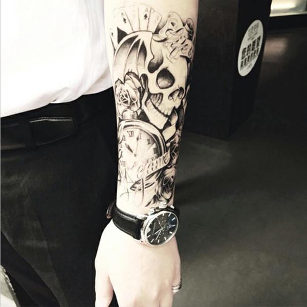 a1a7be3c5 Half Arm Body Temporary Tattoo Sticker Skull Waterproof Long Lasting Water  Transfer Semi Permanent Makeup Tatto
