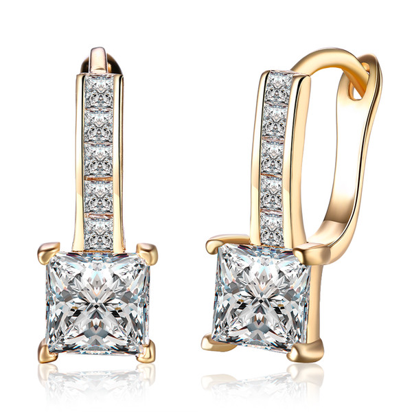best selling Wholesale Low Price 18K Champagne Gold Plated Square Clip Earrings with Zircon Women Engagement Wedding Jewelry Top Quality Free Shipping