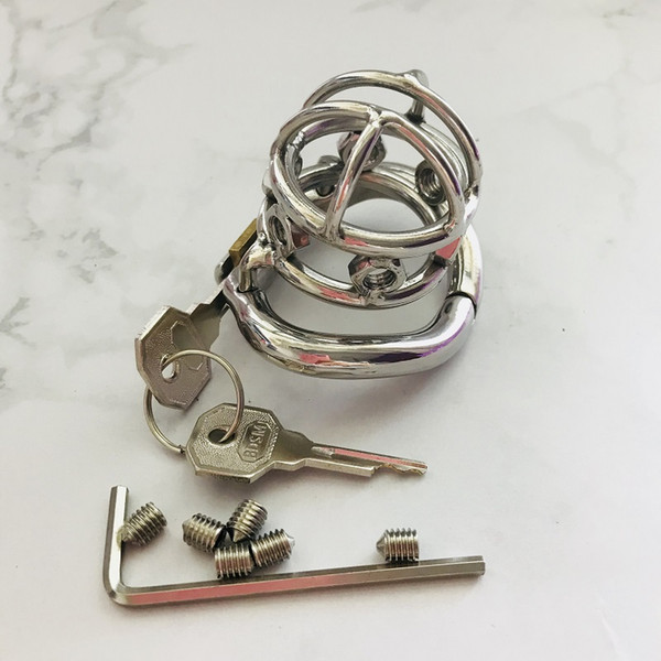 Super Small Male Chastity Device Stainless Steel Cock Cage With Punishment Screws Chasity Cage Sex Toys For Men