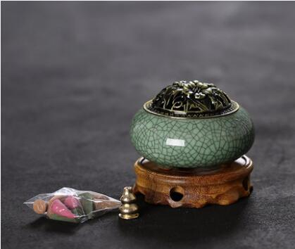 Ceramic Incense Holder 6 Colors Cover Vintage Retro Chinese Incense Burner Censer with Base for Home Living Room Office Teahouse