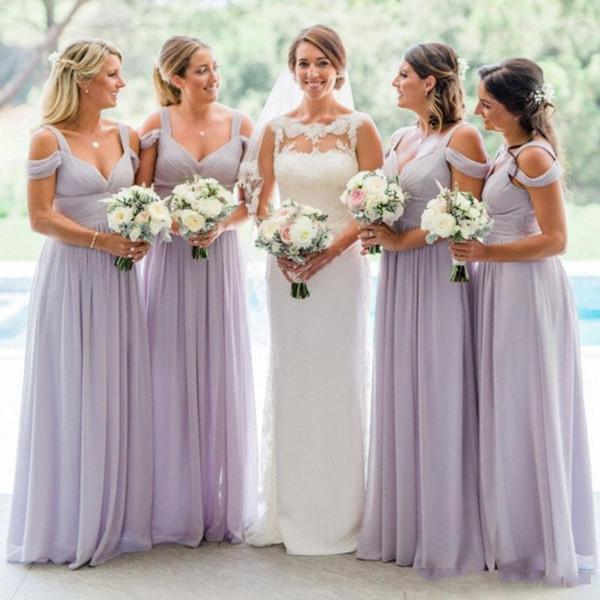 Simple Lavender Bridesmaid Dresses 2018 Spaghetti Floor Length