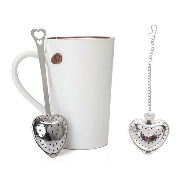 Durable 4.3cm Dia Heart Shaped Tea Strainers Stainless Steel Infuser Adjustable Herb Loose Leaf Filter Tea Bags