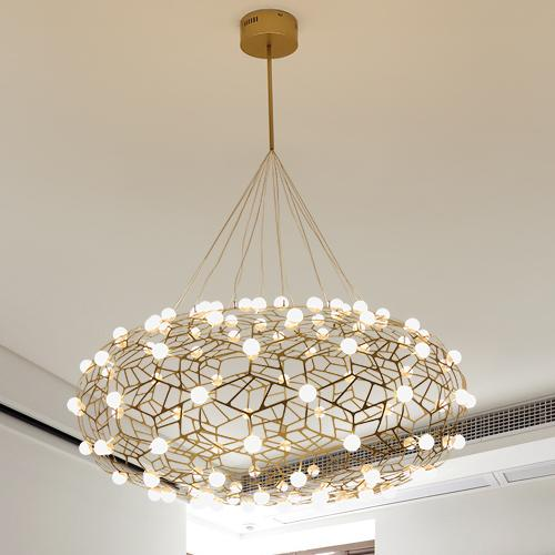 Nordic chandelier personality creative exhibition hall barn nest living room dining room pendant lamps postmodern minimalist firefly lights