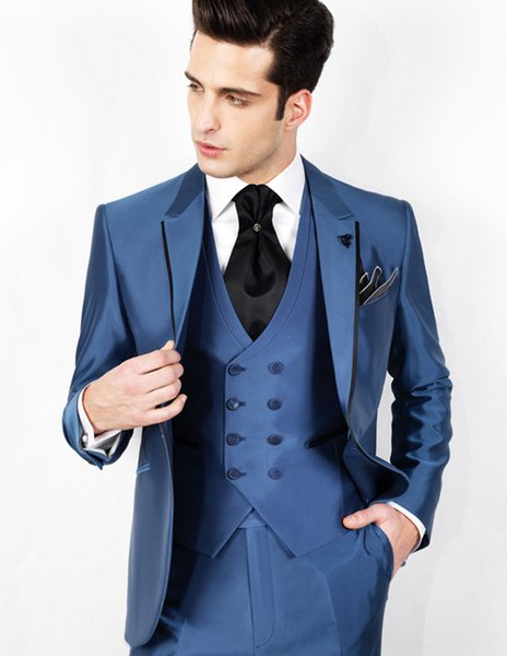 Fashion Advanced Blue One Button Three Pieces (Blazer+Pant+Vest) Business Formal Suits, Modern Wedding Tuxedos For Man 1pc per Opp Bag