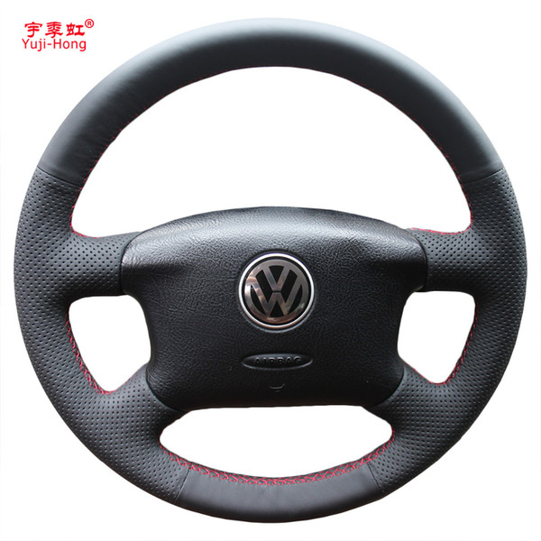 Yuji-Hong Artificial Leather Car Steering Wheel Covers Case for Volkswagen VW Passat B5 Hand-stitched Micro-fiber Cover