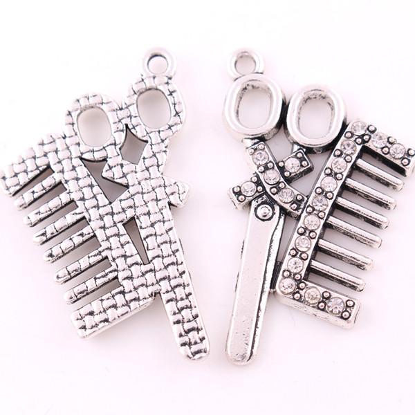 Nouveau mode argent plaqué cristal clair ciseaux et peigne charme pendentif spécial bijoux de loisirs