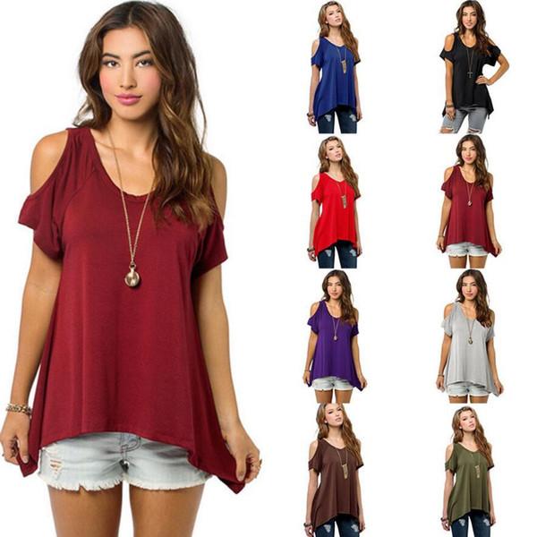 Spring Summer 2018 Casual Women T-shirts Hollow Out Short Sleeve Irregular Shirt Plus Size Loose Shirt Solid Women Summer Tops