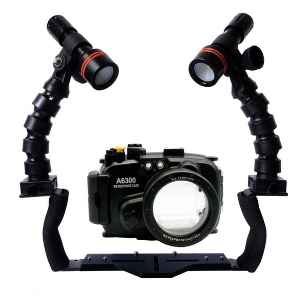 For Sony A6000 A6300 A5000 A5100 A7 II Camera Underwater Housing Diving Case+Dual Flex Arm Bracket+ Archon D11V Led Video Torch