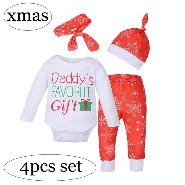 """Daddy's FAVORITE Gift"" ins xmas christmas girls red santa print tutu dress & girls red snowflake pp pants & headband & newborn hat caps 4pc"