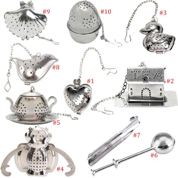 10 style stainless steel tea Infuser Filter Tea spoon bag heart/ house/ duck/ monkey/ teapot/ ball/ bird/ shell/ pipe Design