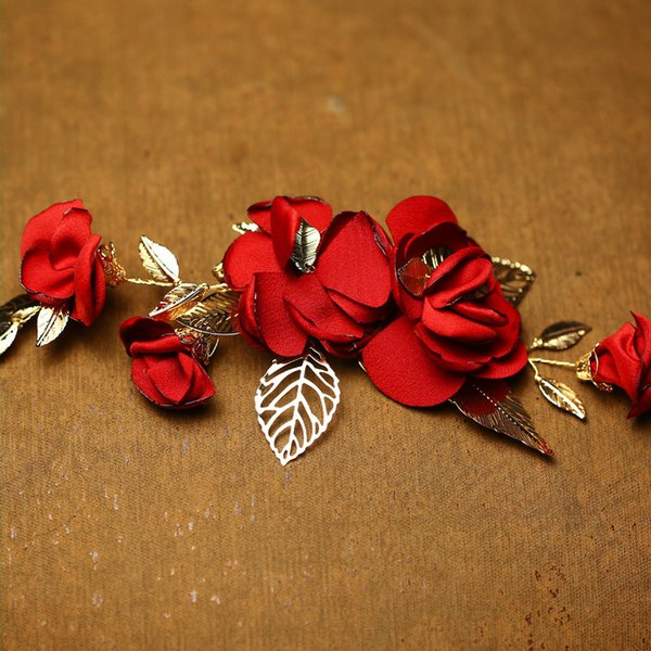 Handmade Red Flower Wedding Prom Women Hair Clip Jewelry Gold Leaf Bridal Hair Accessories Comb Headpiece