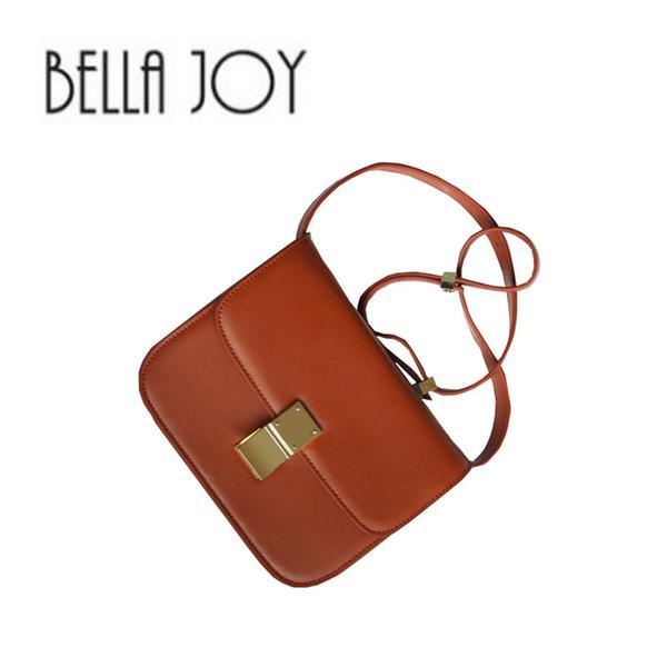BELLA JOY Small Flap Women Classical Box Bag Genuine Leather Handbags Ladies Cowhide Messenger Bag For Female