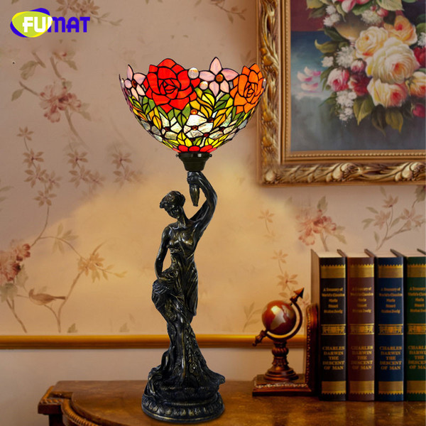 FUMAT Glass Table Lamp European Style Creative Art Stained Glass Tulip Roses Hot Air Balloon Bedside Lamp Home Decoration Lamps