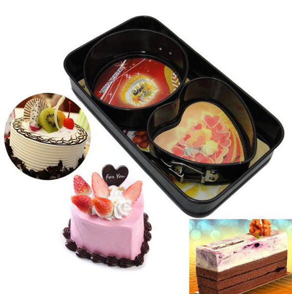 (5 sets) wholesale hot sale Bakeware, metal cake mold, 3pce round heart mini cake mold cake tools