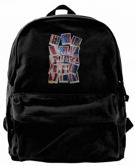 British Roots USA Home Grown UK Flag Map Fashion Canvas Best Backpack Unique Camper Backpack For Men & Women Teens College Travel Daypack