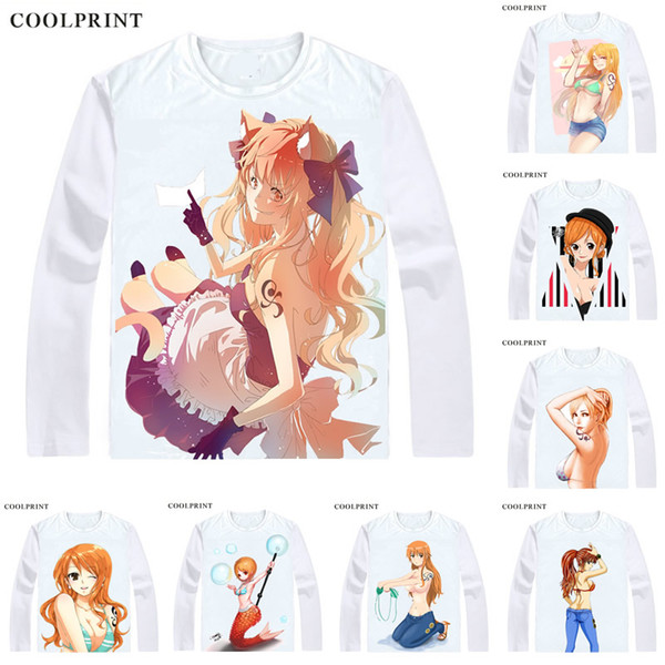 COOLPRINT ONE PIECE T-Shirts Long Sleeve Shirts Anime Manga Wan Pisu Straw Hat Pirates Nami Cat Burglar Dorobo Neko Cosplay Shirt